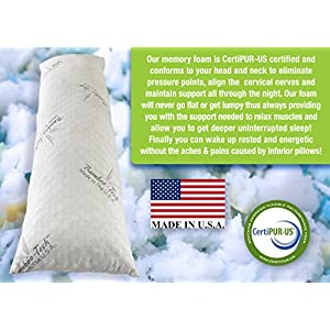 Hypoallergenic Body Pillow Shredded Memory Foam With Bamboo-Tech Cover - Made in the USA by Restwel - Dust Mite Resistant