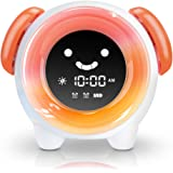 OYRGCIK Changing 4 Rings Toddlers Girls Boys Bedroom Teach Time to Wake, Orange Kids Alarm Clock, Children's Sleep Trainer Night Light Rechargeable 2400mAh Battery USB Charger 7 Colors, Small