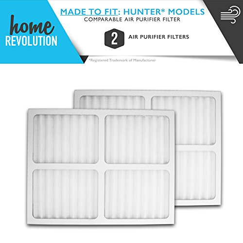 Hunter Part # 30920 for Hunter 30050, 30055, 30065, 37065, 30075, 30080 and 30177 Models, Comparable Air Purifier Filter. A Home Revolution Brand Quality Aftermarket Replacement 2PK