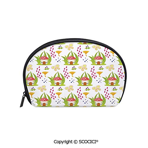 SCOCICI Durable Printed Makeup Bag Storage Bag Spring Forest with Toadstool House Cartoon Pattern Kids Decor Fictional Fairytale Image Art for Women Girl Student