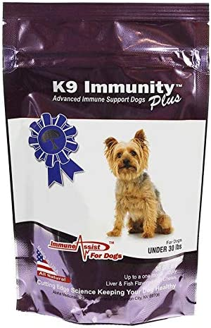 Aloha Medicinals – K9 Immunity Plus – Potent Immune Booster for Dogs Under 30 lbs – Certified Organic Mushroom Enhanced Supplement – Veterinarian Recommended Dog Health Supplement 30 Chews
