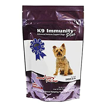 Aloha Medicinals – K9 Immunity Plus – Potent Immune Booster for Dogs Under 30 Pounds – Certified Organic Mushroom Enhanced Supplement – Veterinarian Recommended Dog Health Supplement 30 Chews