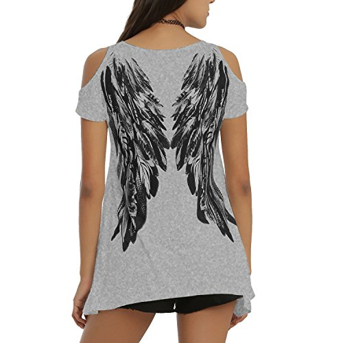 Tulucky Womens Fashion Angel Wing Loose T Shirts Cutout Shoulder Irregular Tops (L, Gray) ()