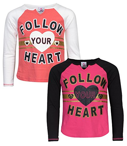 'Real Love Girls 2 Pack Long Sleeve Fashion Tops, Black/White, 10/12' (Girls Long Sleeved Thermal)