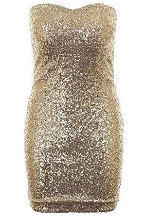 98c4823ca4 Fantasia Ladies Gold Black Purple Shiny Sequin Boobtube Womens Bodycon Dress  Size 8 - 14