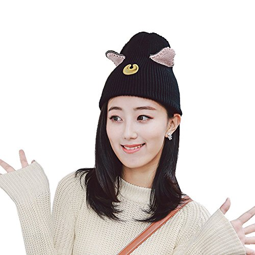 MIUNIKO Sailor Moon Luna Cat Ears Beanie Knitted Hat Skull Cap Cosplay Accessories for Women Black ()