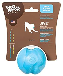 West Paw Zogoflex Jive Durable Nearly Indestructible Dog Ball Chew-Fetch-Play Dog Toy, 100% Guaranteed Tough, It Floats!, Made in USA, Small 2.6-Inch, Aqua