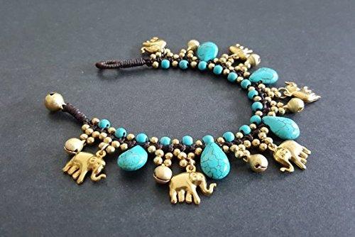 Drop Turquoise Brass Elephant Charm Bracelet ()