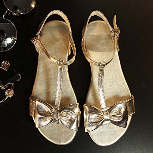 COOLCEPT Women Fashion T-Strap Sandals Open Toe Flat Shoes With Bow Gold 55tCwr