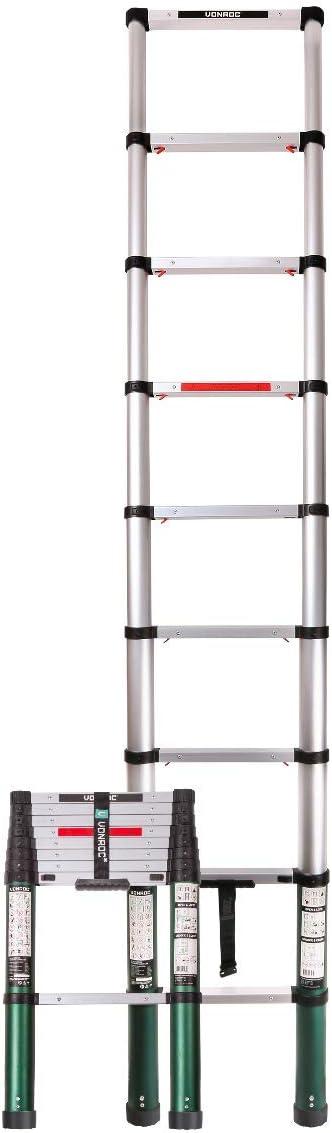 Escalera telescópica profesional de 2,6 metros, según certificación DEKRA y EN 131, muy robusta y montada para su seguridad - con sistema Softclose: Amazon.es: Bricolaje y herramientas