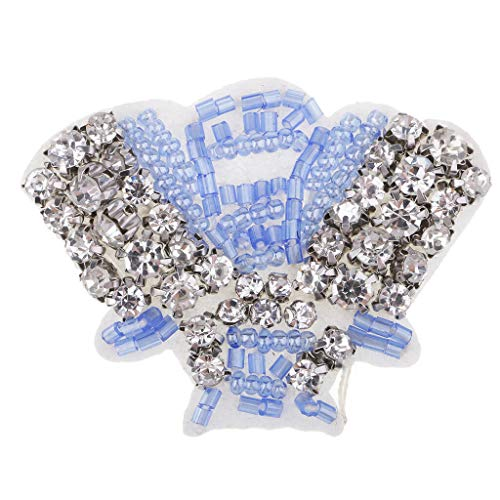 MOPOLIS Handmade Crystal Rhinestone Shell Shape Patches Decor Sew on Bags Applique | Color - Blue ()