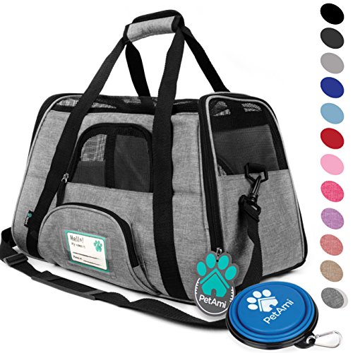- PetAmi Premium Airline Approved Soft-Sided Pet Travel Carrier | Ventilated, Comfortable Design with Safety Features | Ideal for Small to Medium Sized Cats, Dogs, and Pets (Large, Heather Gray)