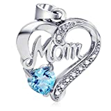 "Sterling Silver Blue Topaz Heart-shaped ""Mom"" necklace, 21mm"