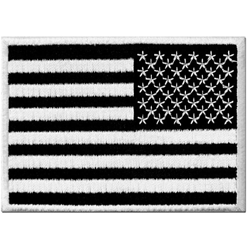 - Reverse American Flag Embroidered Tactical USA Emblem United States Military Iron On Sew On Patch- White & Black