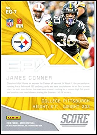5f31493a Amazon.com: 2019 SCORE EPIX GAME #7 JAMES CONNER STEELERS FOOTBALL ...