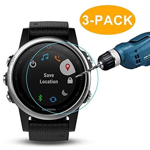 CAVN 3-Pack Compatible Garmin Fenix 5S/Fenix 5S Plus Screen Protector, Tempered Glass Waterproof High Definition Screen Cover Saver Compatible Garmin Fenix 5S/Fenix 5S Plus