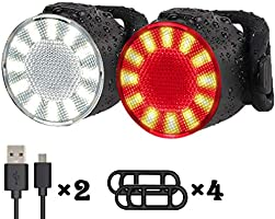 Bike Lights Set, USB Rechargeable Bike Headlight and Tailight Combinations, LED Waterproof Bicycle Front Lights, 6...