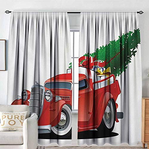 Blackout Thermal Insulated Window Curtain Valance Christmas,Vintage American Truck with Large Xmas Tree and Gift Boxes Pickup Retro Vehicle,Green White,Rod Pocket Valances 54
