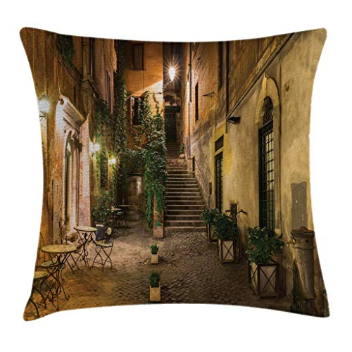 Ambesonne Cityscape Throw Pillow Cushion Cover, Courtyard Night View with Street Lights Cafe Chairs Plants in Flowerpots Rome, Decorative Square Accent Pillow Case, 16 X 16 Inches, Green Brown