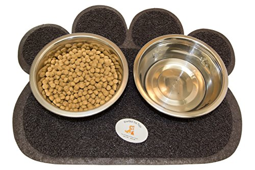 Everlast Pet Toys | Bowl & Mat Feeding Station for Dogs | Anti Slip 'Paw' Shaped Floor Cover | Guaranteed | (2) Deep Silver Bowls | For All Breeds And - Tag Ear Warehouse
