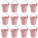 AerWo Mini Metal Bucket Tin Candy Box Buckets Souvenirs Gift Pails for Bridal Wedding Party Baby Showers (Light Pink, 12pcs)