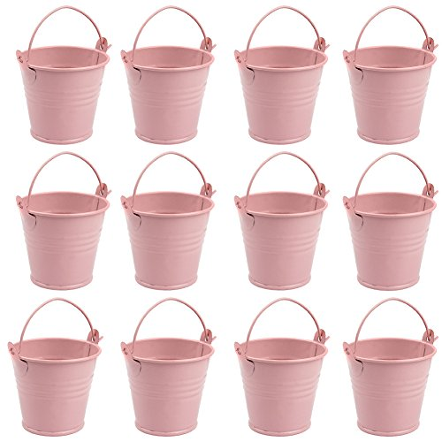 AerWo Mini Metal Bucket Tin Candy Box Buckets Souvenirs Gift Pails for Bridal Wedding Party Baby Showers (Light Pink, 12pcs) ()