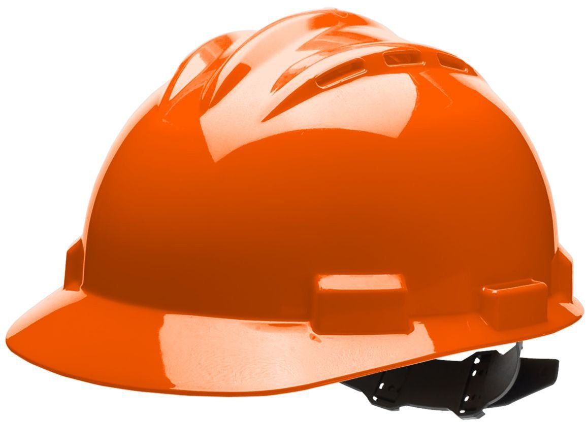 Vinyl Brow Pad Orange One Size Bullard 62ORV Standard Series Vented Cap Style Hard Hat 4 Point Pin Lock Suspension