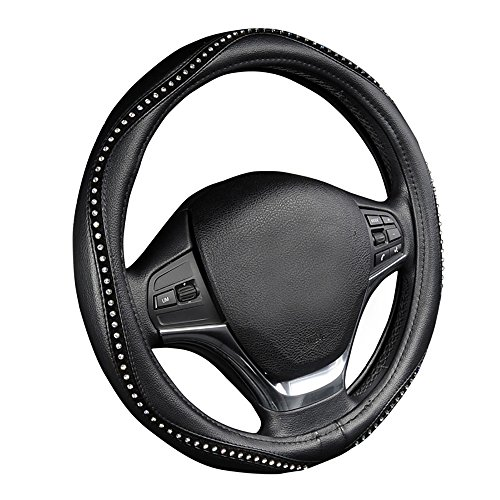 Leather Mercedes Benz Steering Wheel Cover (AUTOYOUTH Steering Wheel Cover, Crystal Studded Rhinestone Bling Styling for Car, SUV, Truck Heavy Duty, Anti-Slip, Excellent Grip Standard Size 15 inch)