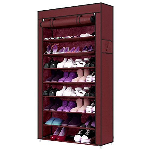 10 Tiers Shoe Rack with Cover 45 Pairs Shoe Storage Cabinet Organizer Portable Shoe Tower Rack Shelf, 34.3 x 10.9 x 62.4inch (Wine Red)