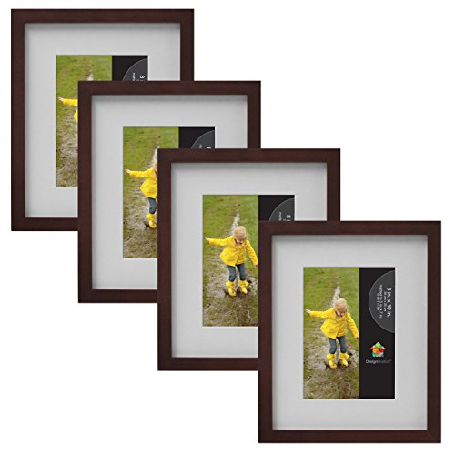 "DesignOvation Gallery Wood Picture Frame (Set of 4), 8"" x 10"", Walnut Brown"