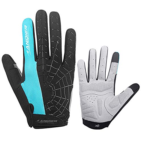 anqier Cycling Gloves Men Women Bike Gloves Mountain Bike Gloves with Anti-Slip Shock-Absorbing Pad Breathable Half Finger Workout Gloves Riding Sports Road Bicycle Gloves