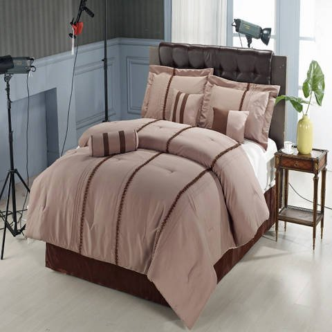 Krystal Queen size Luxury 11 piece Comforter set includes Comforter, sheets, skirt, Throw Pillows, Pillow Shams by Royal Hotel