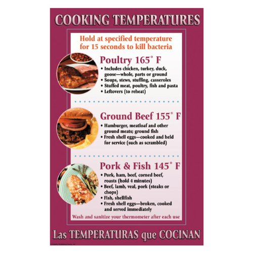 DayMark Laminated Workplace Safety and Educational Poster, Cooking Temperatures, 11