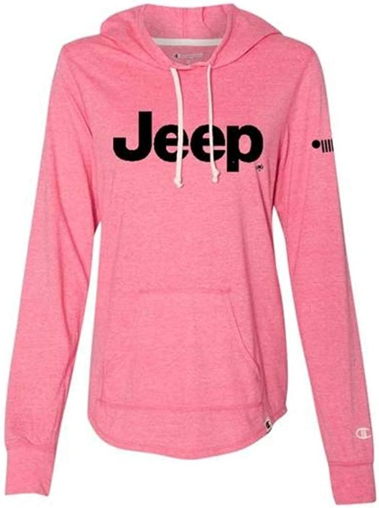 Detroit Shirt Company Ladies Jeep Text Tri-Blend Lightweight Hooded T-Shirt Lotus Pink Heather