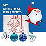 DIY Ornaments 4 Pack - Holiday Ornaments Set, Easy To Use Custom Christmas Decorations, Personalized Christmas Ornaments With All Christmas Tree Decorating Accessories Included Blue| White| Silver