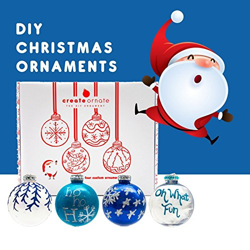 DIY Ornaments 4 Pack - Holiday Ornaments Set, Easy to Use Custom Christmas Decorations, Personalized Christmas Ornaments with All Christmas Tree Decorating Accessories Included Blue| White| Silver by Create Ornate