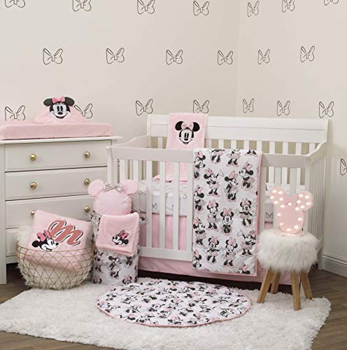 Disney Minnie Mouse 6 Piece Nursery Crib Bedding Set, Pink/Grey/White/Black