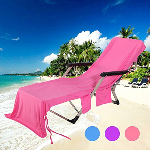 MIFXIN Lounge Chair Beach Towel Cover with Side Storage Pockets Microfiber Lightweight Beach Pool Chair Cover Towel for Sunbathing Holiday (Rose Red)