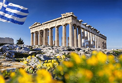 OFILA Greek Backdrop 5x3ft Parthenon Temple Flowers Athens Acropolis Flag of Greece Ancient Buildings Historical Heritage Civilization Monuments Travel Party Background School Research Shoots Props
