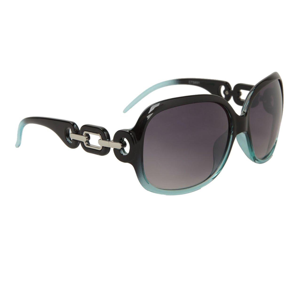 Black Light Blue FancyG/® Womens Fashion Sunglasses Diamond Chain Style Vintage Look UV Protection Eyewear Duotone