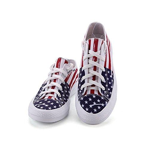 Eerste Dans Unisex Canvas Schoenen Amerikaanse Vlag Print Sneaker Veterschoen Laag Bovengewicht