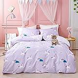 Jumeey Girls Duvet Cover Unicorn Bedding Set Queen Purple Cartoon Soft Cotton Bedding Full Size for Toddler Kids Reversible Rainbow Striped Duvet Cover with 2 Pillow Shams
