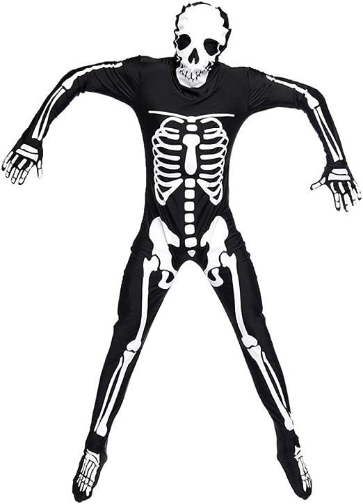 PIAOL Mono del Cráneo Disfraz De Fantasma Esqueleto De Halloween ...