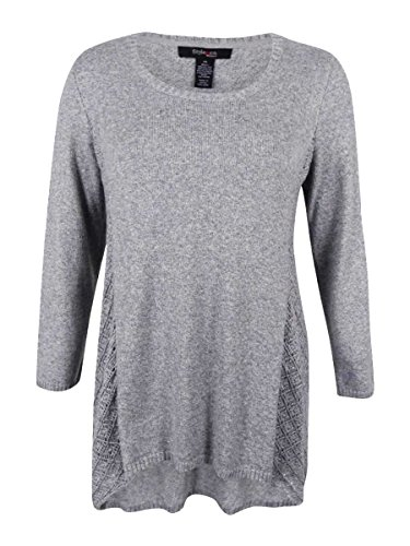 - Style & Co. Womens Plus Knit Metallic Pullover Sweater Gray 1X