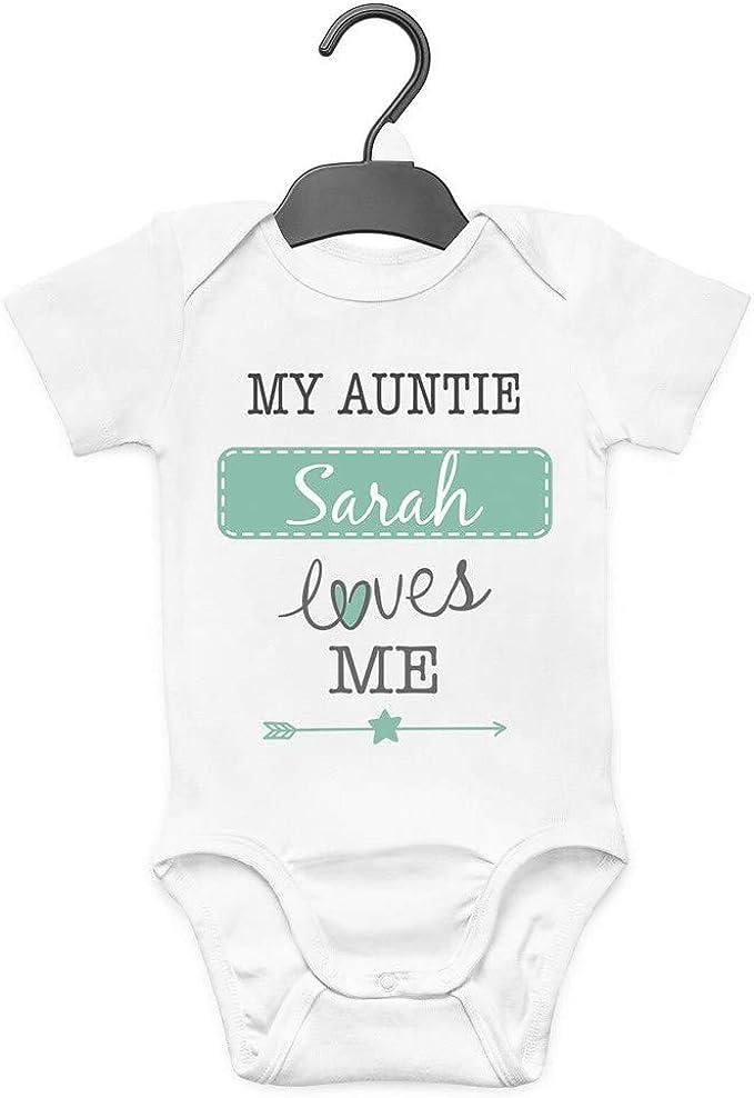 Personalised I Love My Auntie Blue Boys Baby Grow Bodysuit