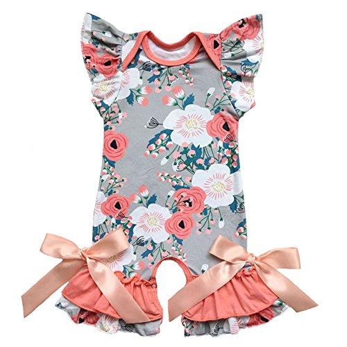 (IBTOM CASTLE Newborn Baby Girls Ruffle Romper Jumpsuit Long Sleeve Valentine's Day Love Heart Easter Egg Print Bodysuit Pajama Outfit #2 Peach Flowers 2-3 Years )