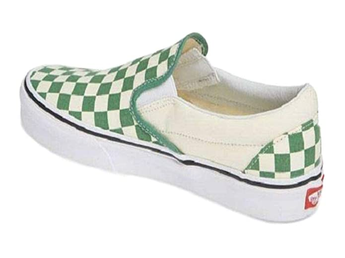 Vans Classic Slip On Sneaker Damen Herren Kinder Unisex Grün Weiß Kariert