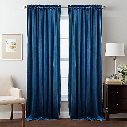 StangH Sunlight Block Velvet Curtain Panels - Sound Reducing Window Insulated Drapes Dual Rod Pockets with Pleated Design for Dinning Room/Home Theater, Royal Blue, 52 x 84 inch, 2 Pcs - Hanging Pleated Drapes