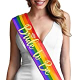 Bride To Be Gold Foil with Diamond Bachelorette Wedding Sash Gay Pride Rainbow Sash(DiaB2B Gld) RBW