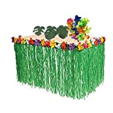 BOSHENG Hawaiian Party Decorations. 1 Green Grass Table Skirt + 24 Hibiscus Flowers + 12 Tropical Leaves. Hula, Luau, Maui, Moana Themed Birthday Party Supplies